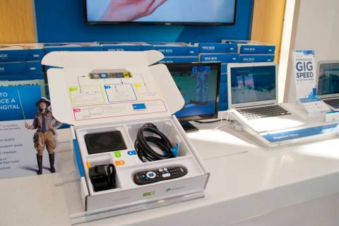 One of the mini-boxes required by Cox sits on display at the Cox Solutions Store near Centennia ...