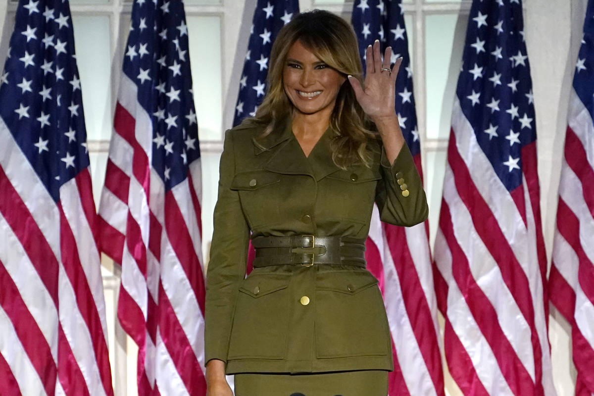First lady Melania Trump arrives to speak on the second night of the Republican National Conven ...