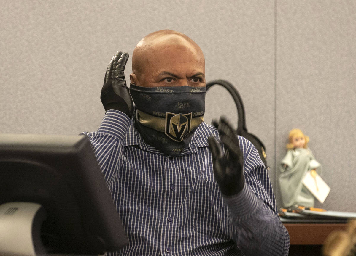 Juan Pablo Hernandez-Rodriguez takes the witness stand as he testifies during Edgar Samaniego's ...