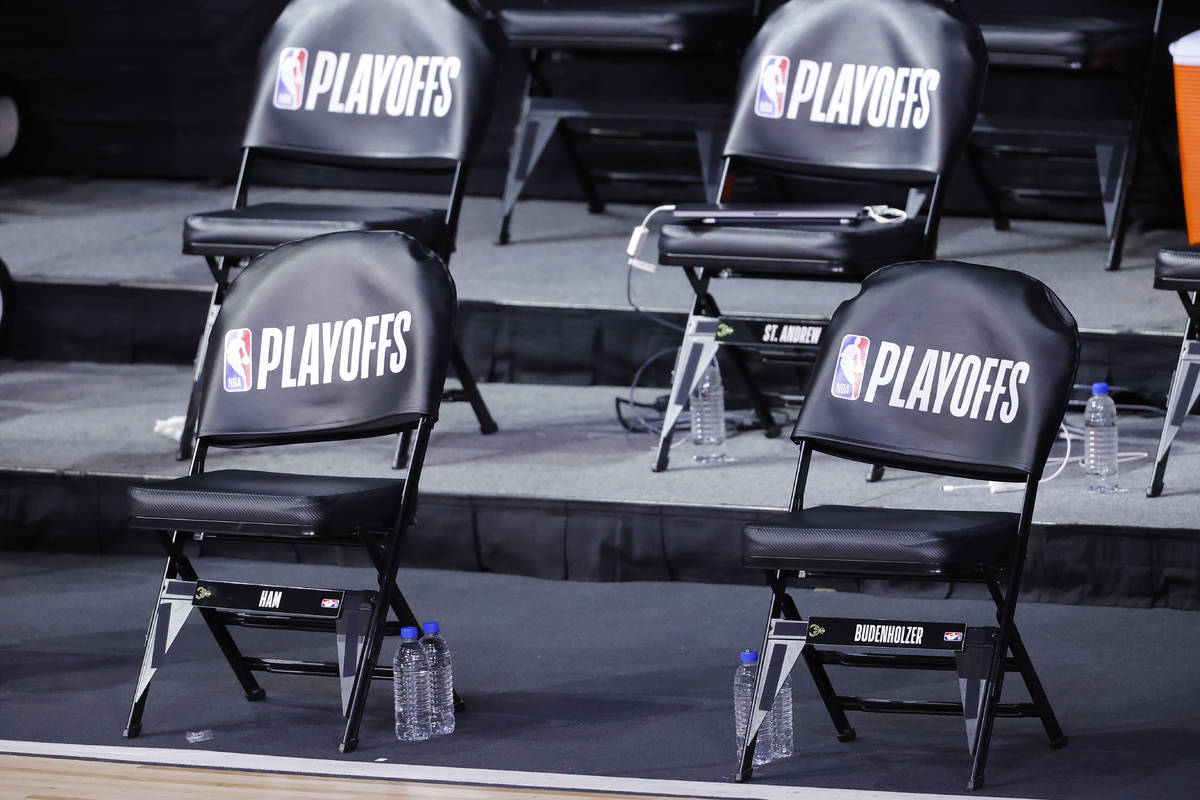 The Milwaukee Bucks bench sits empty at game time of Game 5 of an NBA basketball first-round pl ...
