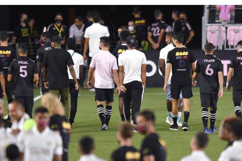 Inter Miami players leave the field after the team's MLS soccer match against Atlanta United wa ...
