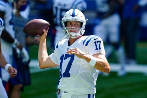 Indianapolis Colts quarterback Philip Rivers (17) throws during practice at the NFL team's foot ...