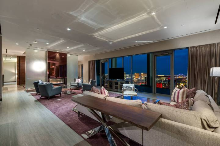 The 3,300-square-foot Palms Place penthouse has views of the Strip. (Luxury Estates International)