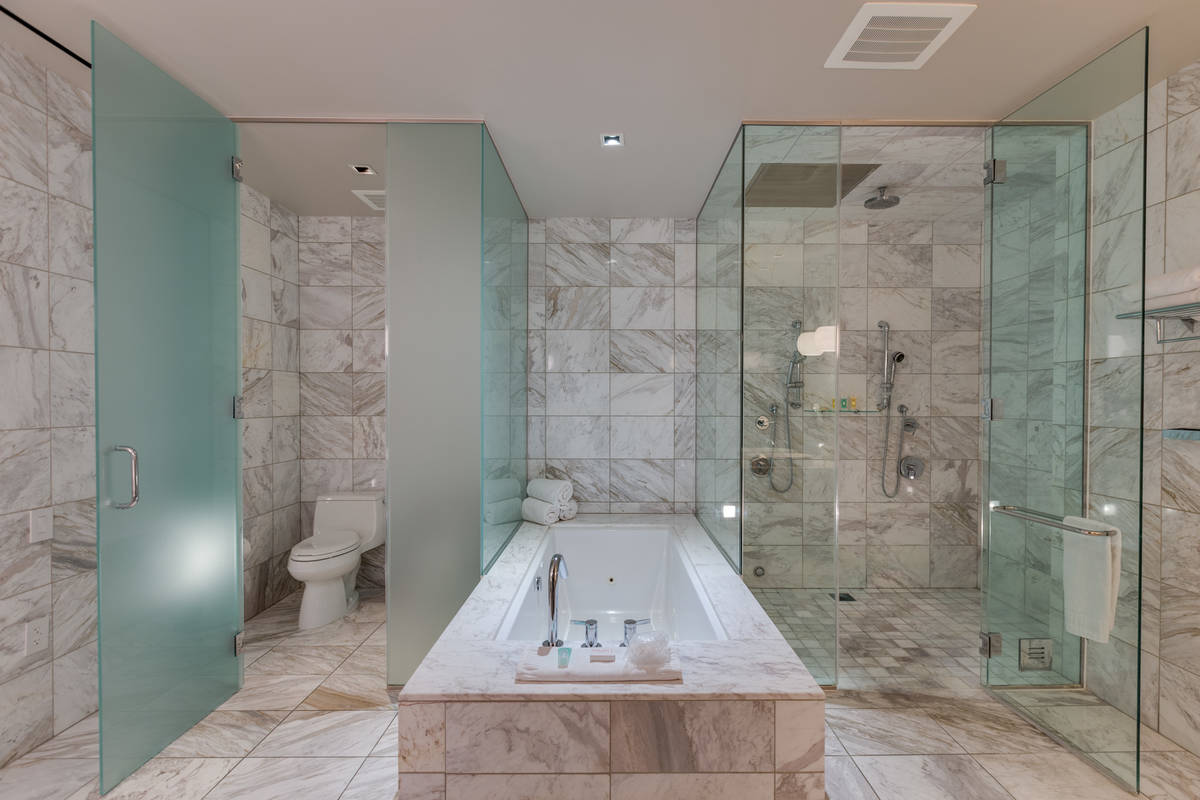 The spa-like main master bath features a walk-in steam shower. It also has a Jacuzzi tubs, doub ...