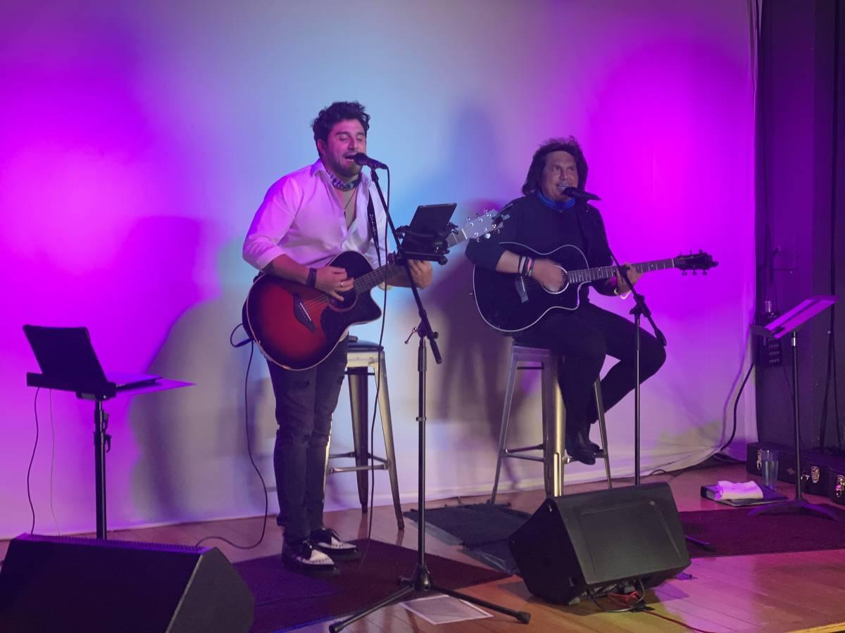 "Vinny ""Vin A."" Adinolfi and his father, Vinny Adinolfi, perform at E String Poker Bar on Aug. 6 ..."