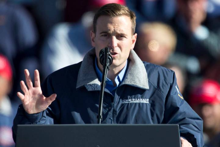 Outgoing Attorney General Adam Laxalt speaks at President Donald Trump's Make America Great Aga ...