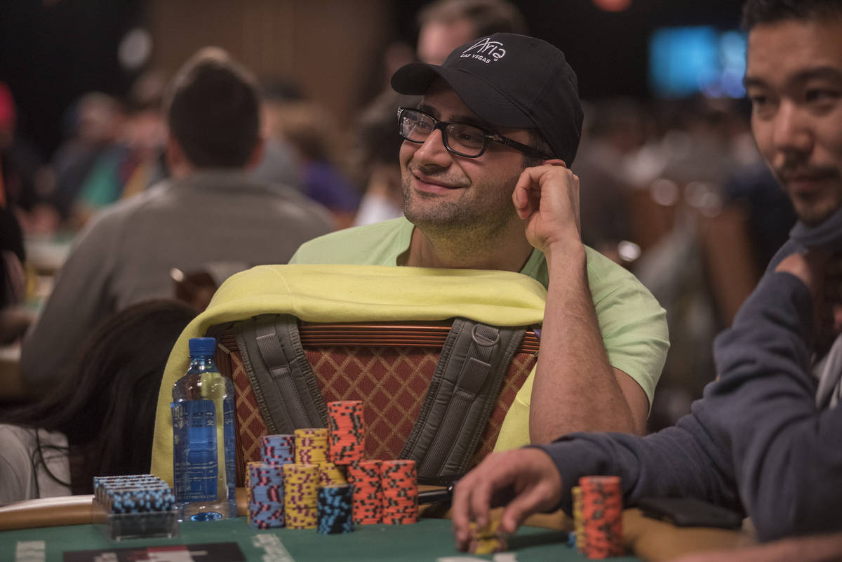 Professional poker player Antonio Esfandiari is seen playing at the Main Event of the World Ser ...