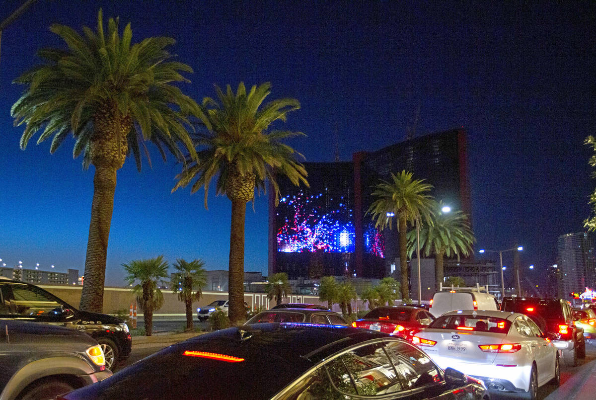Resorts World Las Vegas unveils its LED screen with a fireworks display for Independence Day on ...