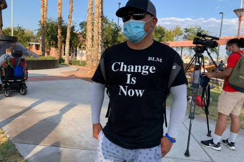 Charles Gilbert, 50, of San Diego is taking part in a rally and protest in North Las Vegas on F ...