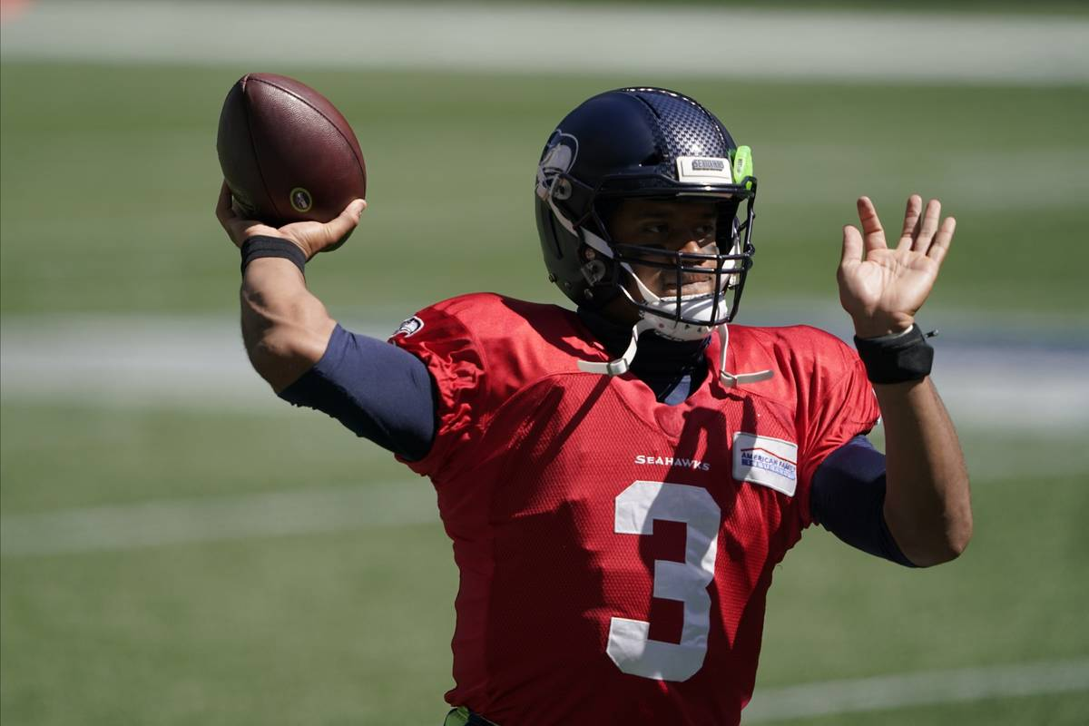 Seattle Seahawks quarterback Russell Wilson (3) during warmups before an NFL football mock game ...