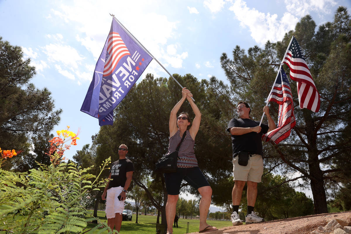 Barbara Carrillo, left, and husband Creb, participate in a No Mask Nevada PAC rally at Sunset P ...