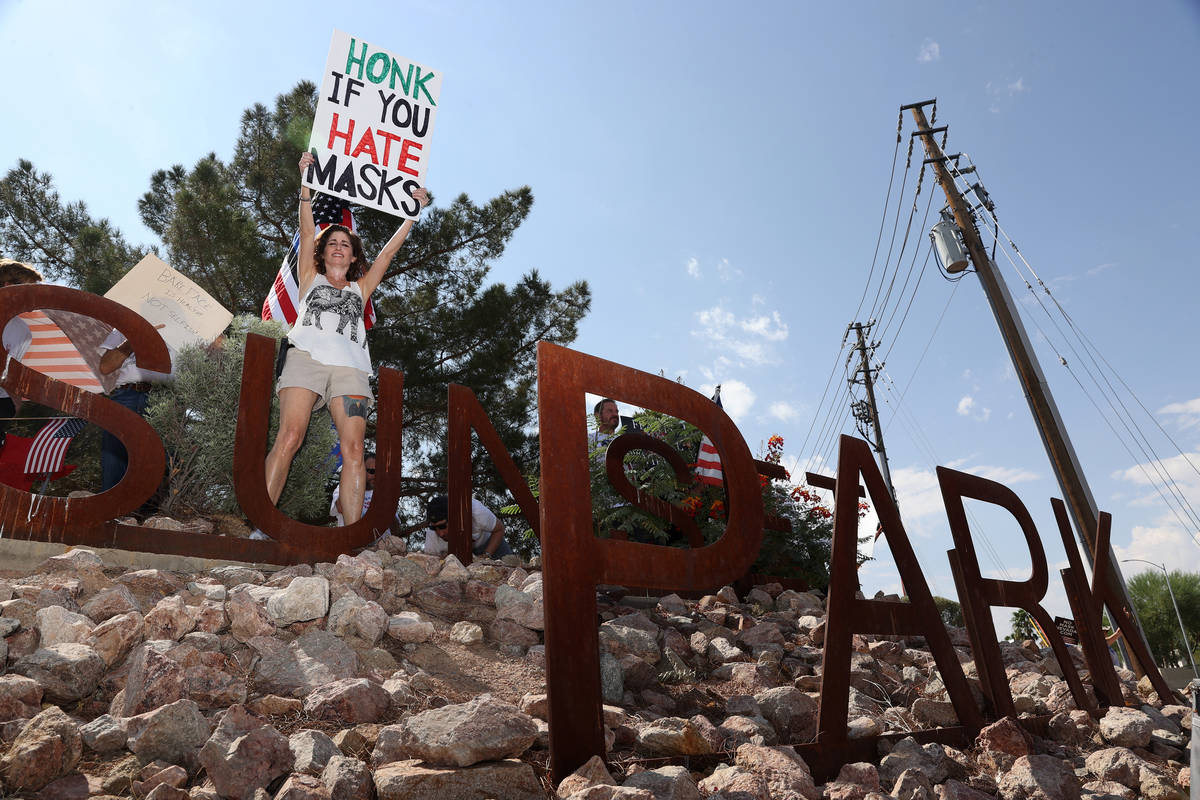 Las Vegas Attorney Michele Baron participates in a No Mask Nevada PAC rally at Sunset Park in L ...