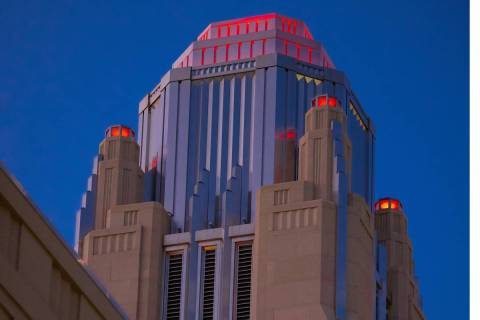 A shot of the test of red lights at the bell tower at Smith Center for the Performing Arts. The ...