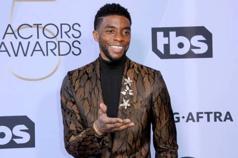 FILE - In this Jan. 27, 2019 file photo, Chadwick Boseman arrives at the 25th annual Screen Act ...