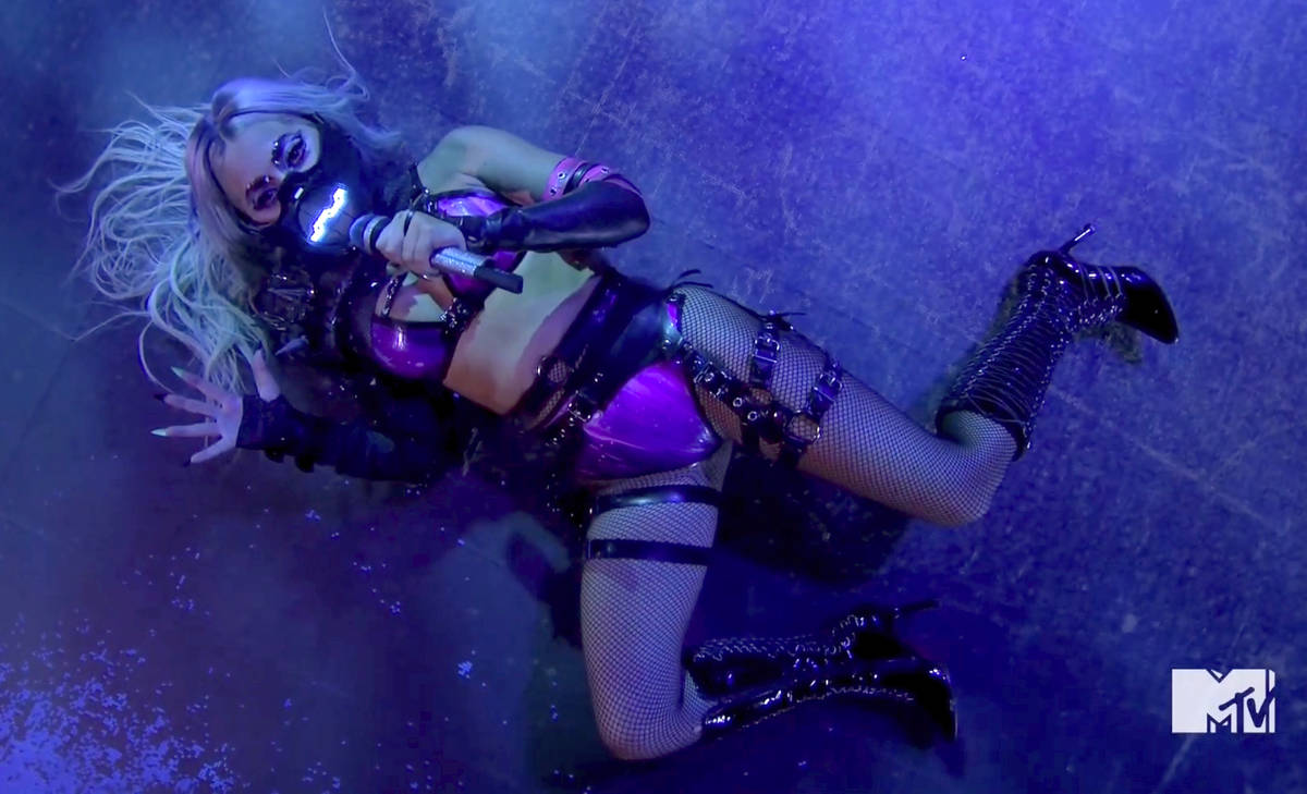 In this video grab issued Sunday, Aug. 30, 2020, by MTV, Lady Gaga performs during the MTV Vide ...