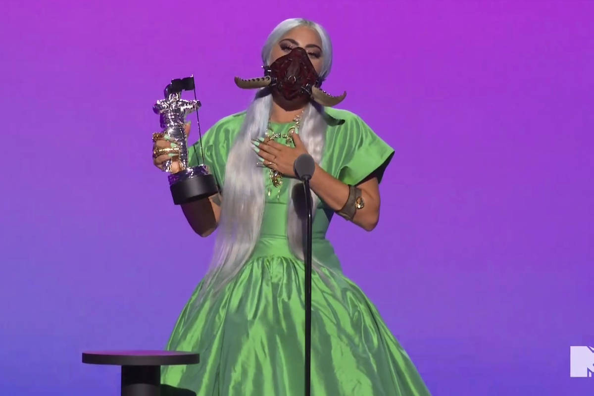 In this video grab issued Sunday, Aug. 30, 2020, by MTV, Lady Gaga accepts the award for song o ...