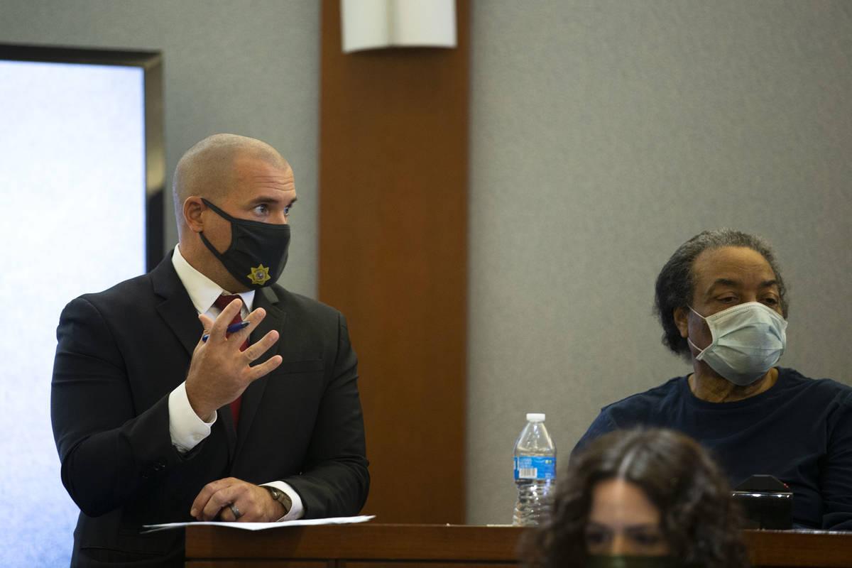 Lead prosecutor John Giordani, left, questions former Alpine Motel Apartmants resident Paul Wis ...
