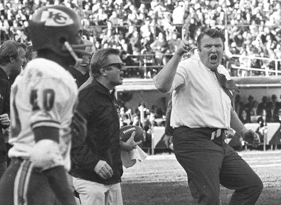 Raiders coach John Madden protests a referee's call in a game against the Chiefs in 1970. (Th ...