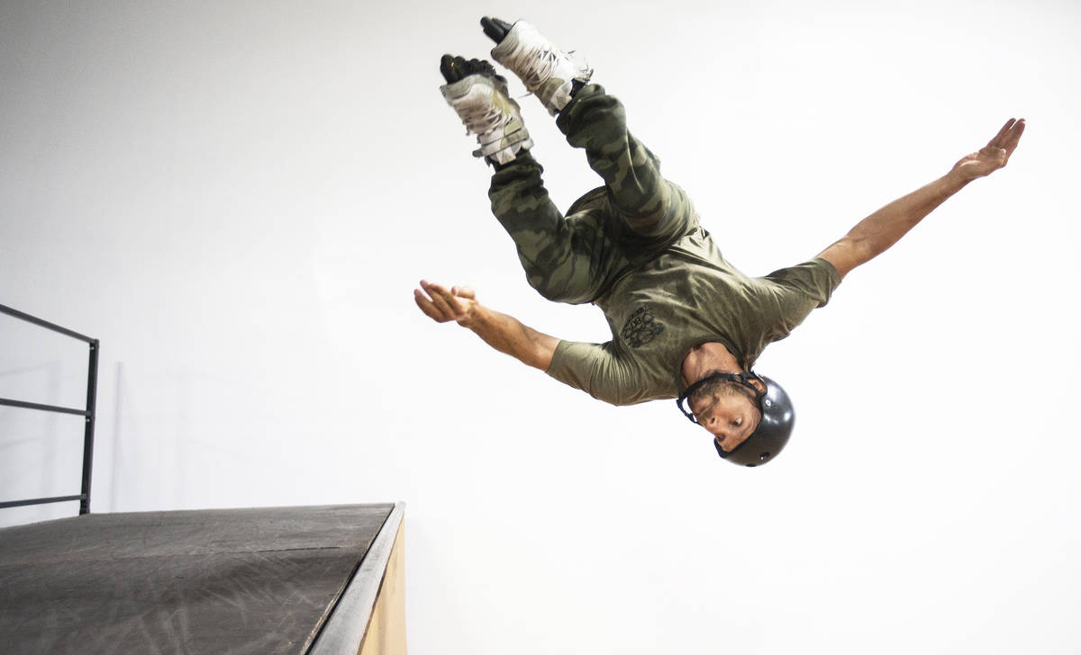 """Inline skater Marco De Santi, formerly wiith """"The Beatles Love"""" show, practices at the Las Vega ..."""