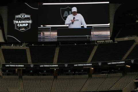 Las Vegas Raiders owner Mark Davis addresses the team before a team practice at Allegiant Stadi ...