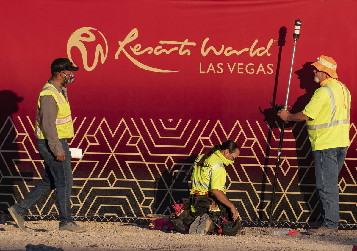 Construction workers are seen at the Resorts World construction site, on Monday, Aug. 31, 2020, ...