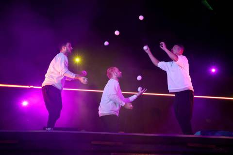 Noah Schmeissner, from left, Tony Pezzo and Doug Sayers juggle at Salvage City, a partnership o ...