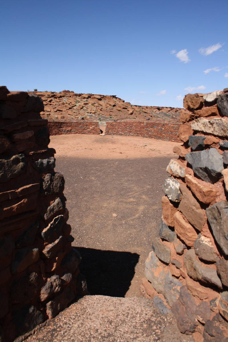 The ceremonial ball court at Wupatki National Monument in Arizona is 102 feet long and 78 feet ...