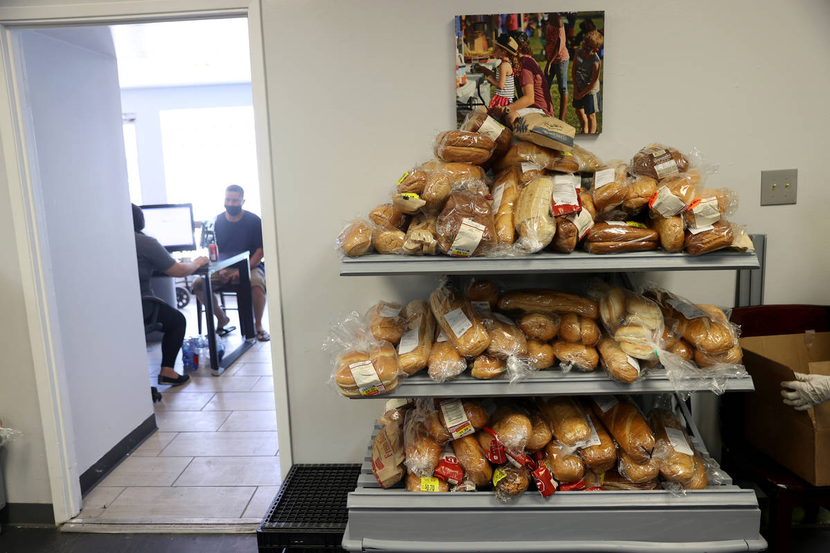 Bread available for people at the City Impact Center food pantry in Las Vegas, Thursday, Aug. 2 ...