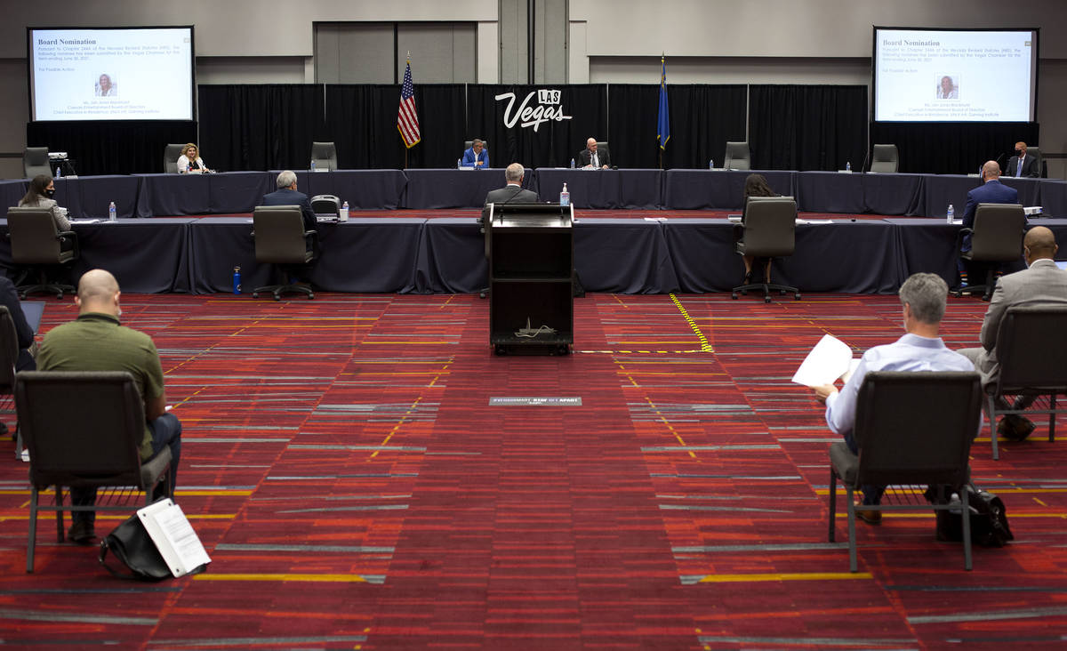 A Las Vegas Convention and Visitors Authority meeting is socially distanced on Tuesday, Sept. 1 ...