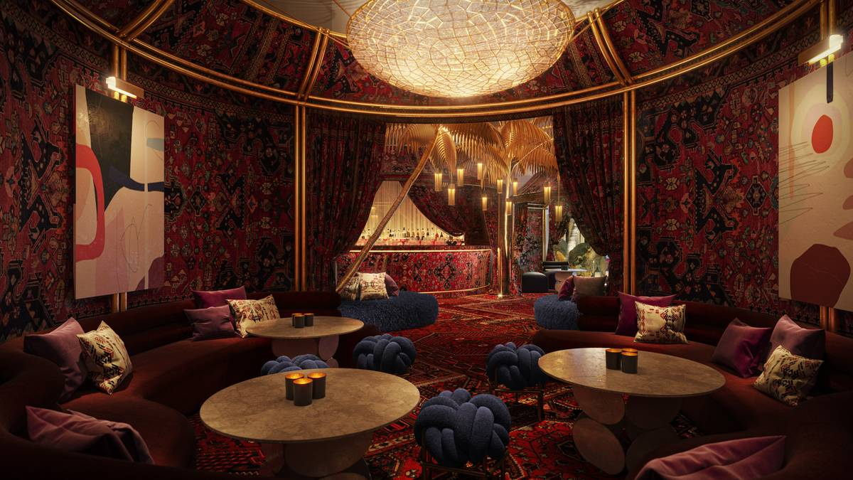 A rendering of the Shag Room, part of the Commons Club area of the hotel. (Virgin Hotels Las Vegas)