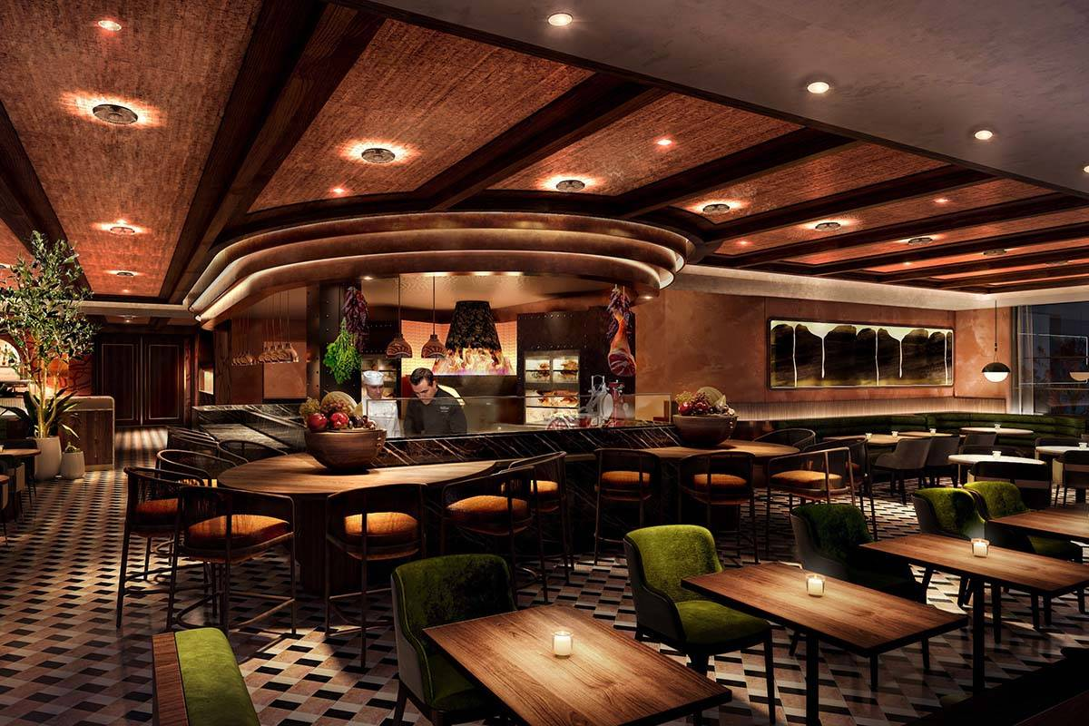A rendering of the dining room at Olives. (Virgin Hotels Las Vegas)