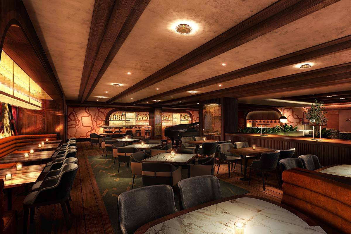 A rendering of the lounge area at Olives. (Virgin Hotels Las Vegas)