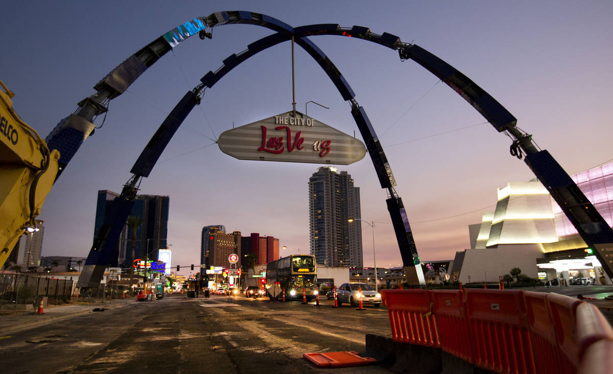 A pair of $6.5 million-dollar arches tower 80 feet above Las Vegas Boulevard on Monday, Aug. 31 ...