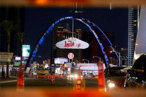 A pair of $6.5 million-dollar arches tower 80 feet above Las Vegas Boulevard on Monday, Aug. 31 ...