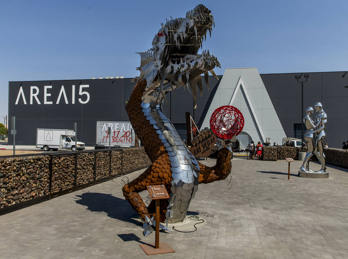 """Art piece ÒEl Scorcho"""" by artist Ivan McLean at Area15's Art Island outdoor gallery is the bac ..."""