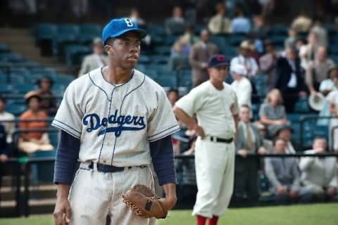 "Chadwick Boseman portrays Jackie Robinson in ""42."" (Warner Bros. Pictures)"