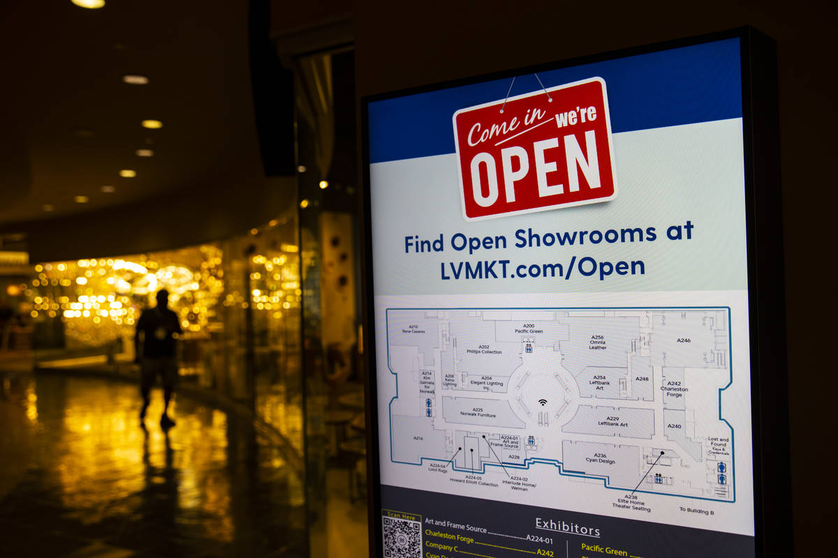 A digital sign shows open showrooms during the Summer Las Vegas Market at the World Market Cent ...