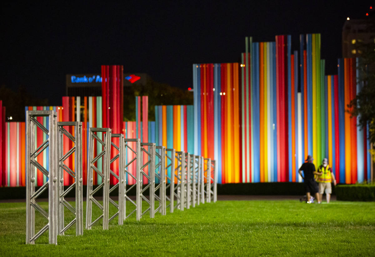 """A """"truss garden"""" is set up to represent the many entertainment workers who have been ..."""