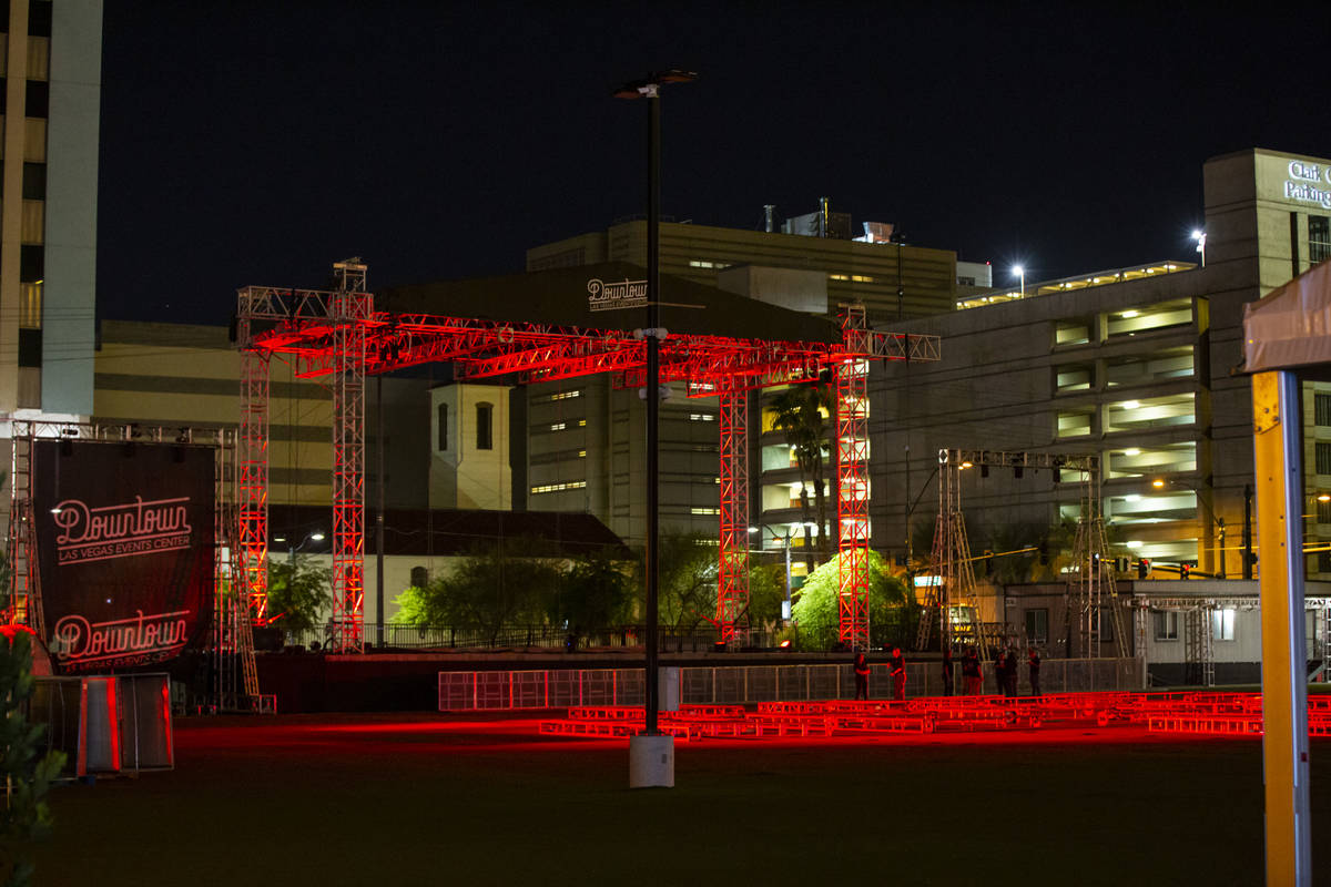 """Red lights for the """"Red Alert"""" campaign light up the stage at the Downtown Las Vegas ..."""