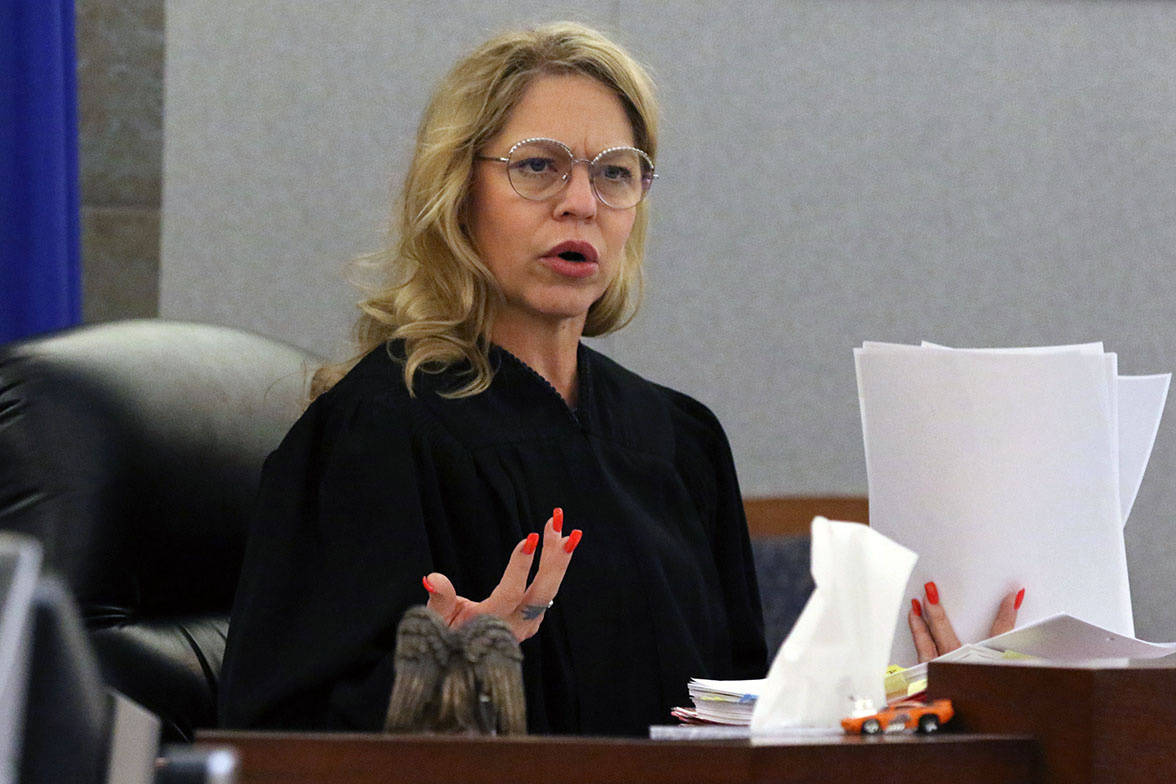 Judge Melanie Andress-Tobiasson presides during the conclusion of a preliminary hearing for for ...