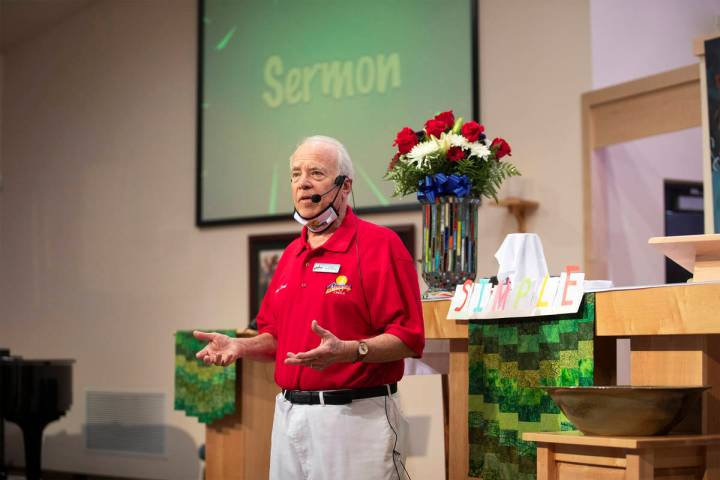 Pastor David Miller delivers a sermon to a small group of attendees and viewers around the coun ...