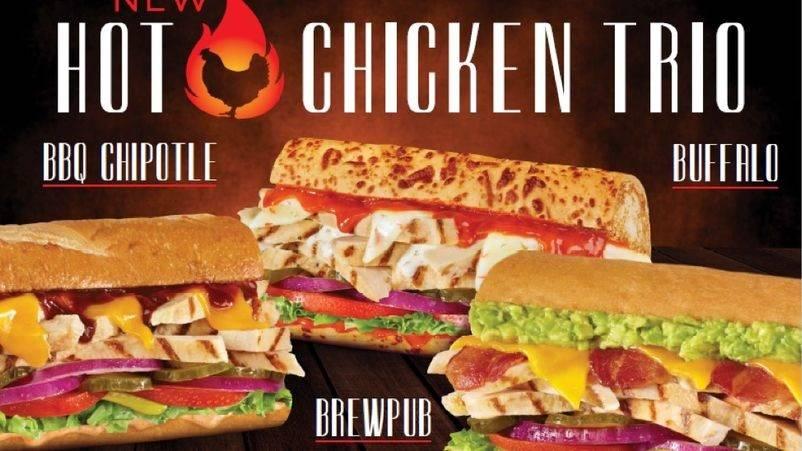 The BBQ Chipotle, Brew Pub and Buffalo hot chicken sandwiches. (Togo's)