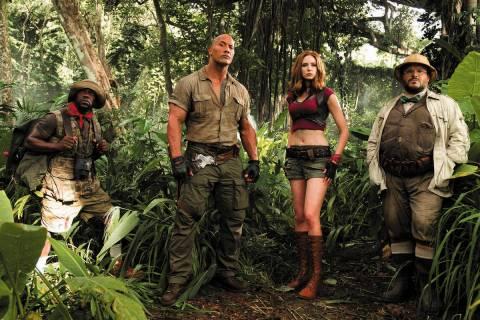 "From left, Kevin Hart, Dwayne Johnson, Karen Gillan and Jack Black star in ""Jumanji: Welcome to ..."