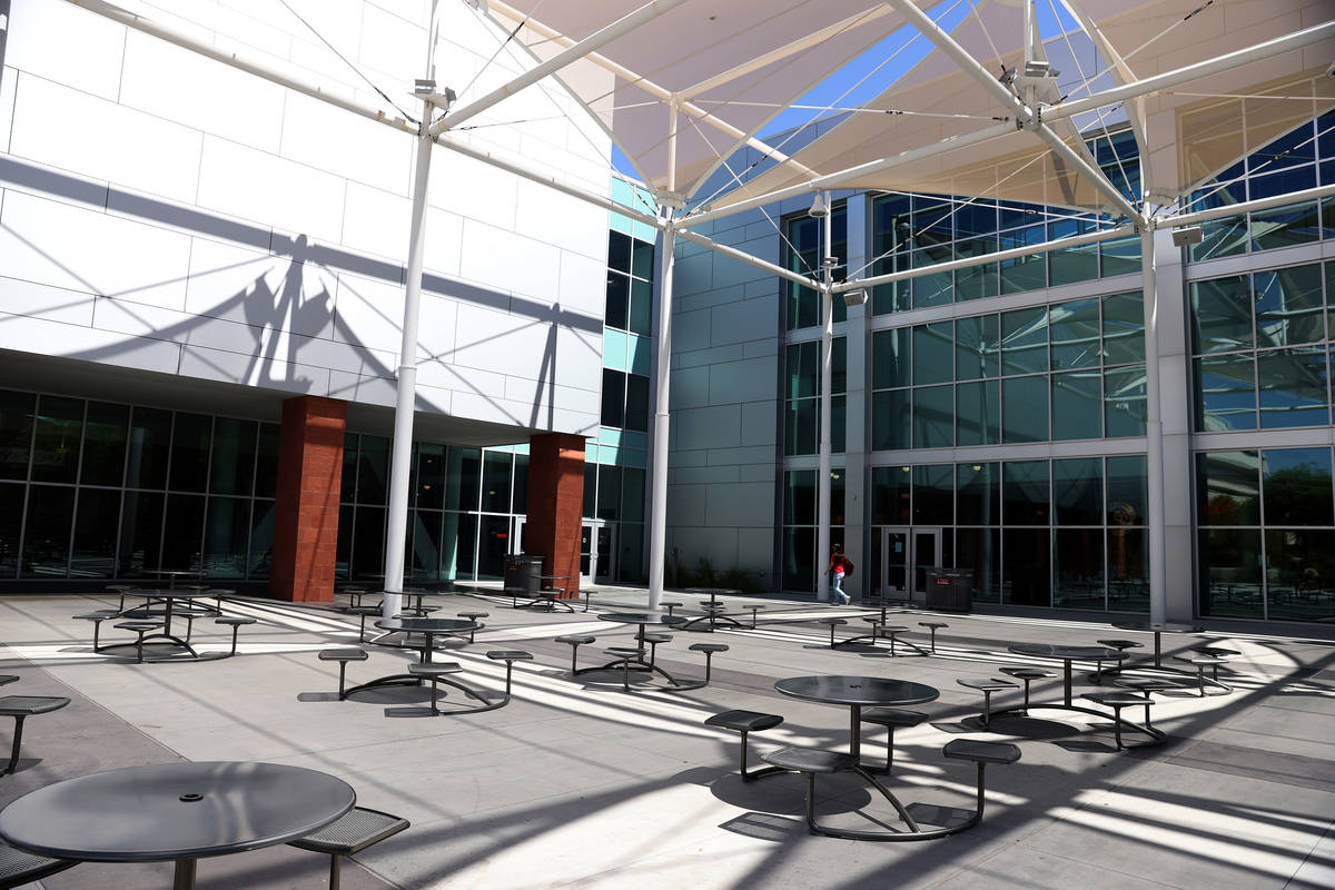 The Donald C. Moyer Amphitheater outside of the Student Union at UNLV in Las Vegas, Friday, Sep ...