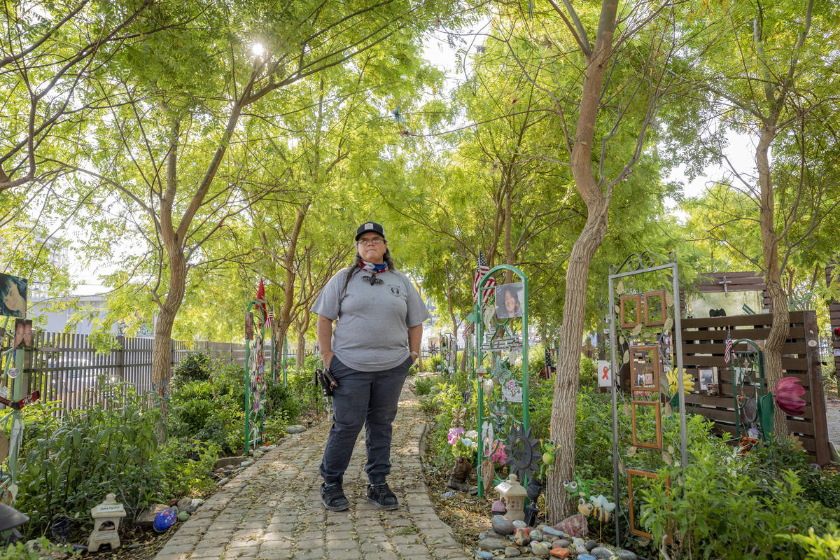 Survivor of Route 91 and caretaker of the Las Vegas Healing Garden Sue Ann Cornwell is seen in ...
