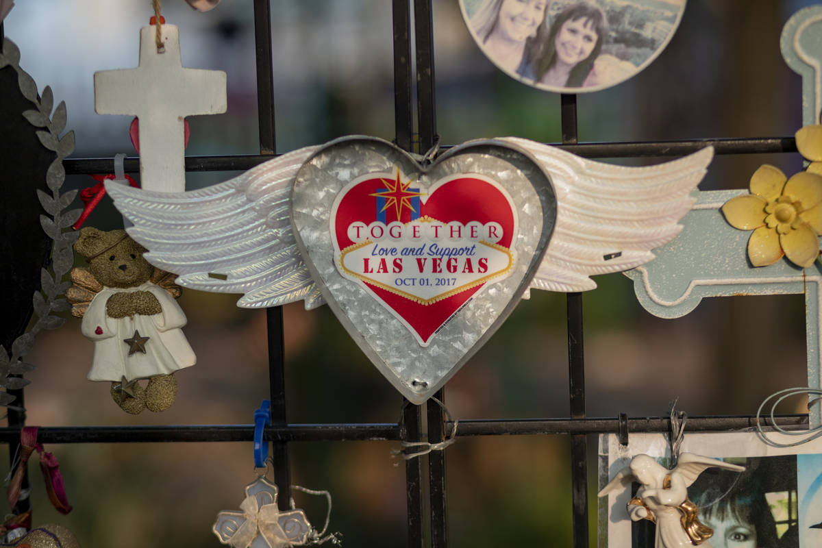 Relics seen adorning memorials for victims of Route 91, at the Las Vegas Healing Garden, in Las ...
