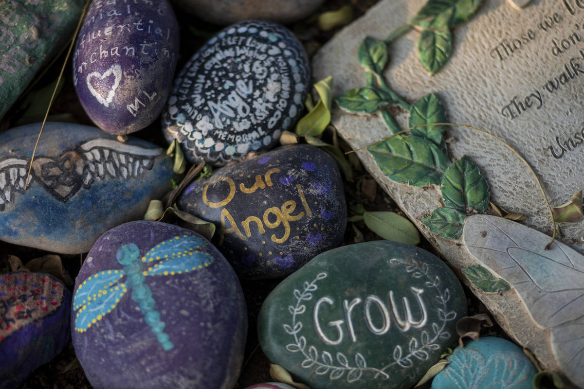 Painted stones are seen around memorials for victims of Route 91, at the Las Vegas Healing Gard ...