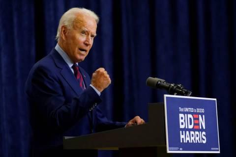 Democratic presidential candidate former Vice President Joe Biden speaks in Wilmington, Del., F ...