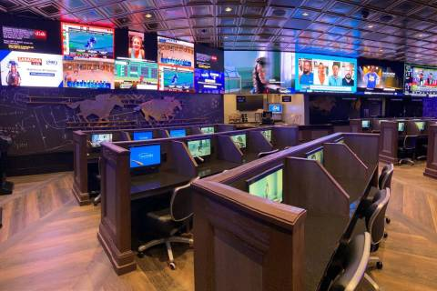 The Golden Circle Sportsbook and Bar at Treasure Island has room for more than 750 people. (Tre ...