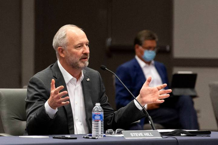 Steve Hill, CEO of the Las Vegas Convention and Visitors Authority, speaks during meeting on Tu ...